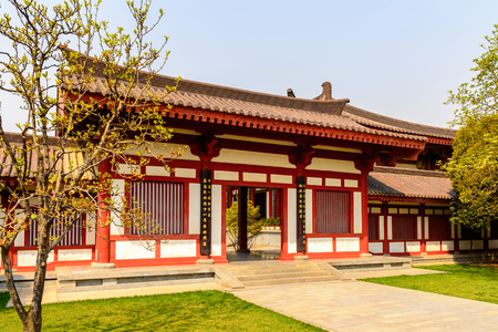 One of the pavilions of the Giant Wild Goose Pagoda complex, a Buddhist pagoda Xian, Shaanxi province, China.