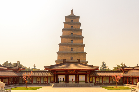 Giant Wild Goose Pagoda complex, a Buddhist pagoda Xi'an, Shaanxi province, China.