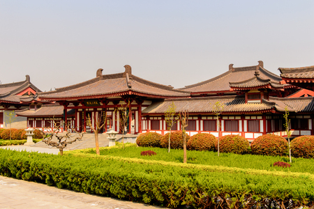 One of the pavilions of the Giant Wild Goose Pagoda complex, a Buddhist pagoda Xian, Shaanxi province, China. It was built in 652 during the Tang dynasty.