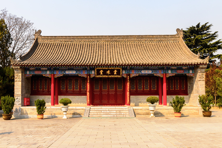 Pavilion of the Giant Wild Goose Pagoda complex, a Buddhist pagoda Xian, Shaanxi province, China. It was built in 652 during the Tang dynasty.