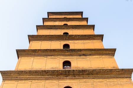 Giant Wild Goose Pagoda complex, a Buddhist pagoda Xian, Shaanxi province, China. It was built in 652 during the Tang dynasty.