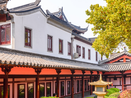 Garden of the Bao'en Temple complex in Suzhou, Jiangsu Province, China. One of the Buddha temples in China