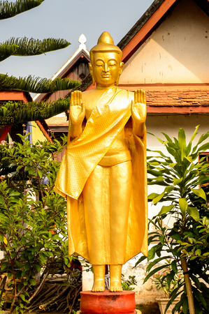 Buddha statue at the Vatmay Souvannapoumaram temple complex, one of the Buddha complexes in Luang Prabang