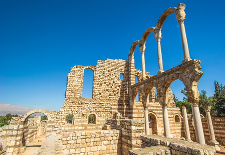 Ruins of Anjar meaning unresolved or running river), also known as Haoush Mousa, a town of Lebanon located in the Bekaa Valley. Stock Photo