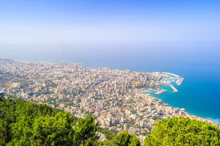 Beirut, the capital and largest city of Lebanon. Mediterrenean sea coast Фото со стока