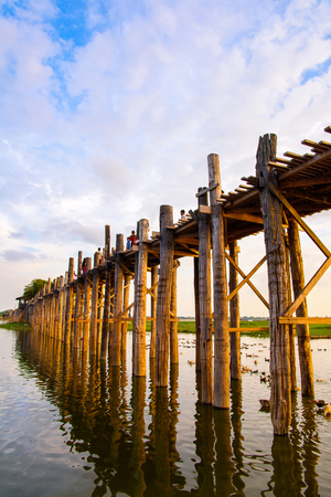 U Bein Bridge over the Taungthaman Lake, the oldest and longest teakwood bridge in the world