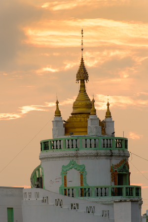 Temple on the coast of the Taungthaman Lake, Myanmar