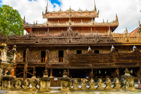 Shwenandaw Monastery (Golden Palace Monastery), a historic Buddhist monastery located in Mandalay Region, Myanmar 写真素材