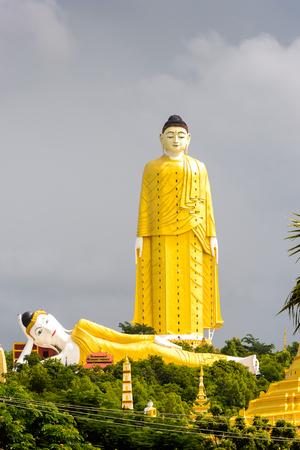 Giant standing Buddha at the Maha Bodhi Ta Htaung, a famous Buddhist region and monastery, Monywa Township, Sagaing Area, Myanmar (Burma) Editorial