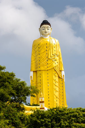 Giant standing Buddha at the Maha Bodhi Ta Htaung, a famous Buddhist region and monastery, Monywa Township, Sagaing Area, Myanmar (Burma) Stock Photo