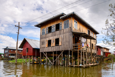 Nature and houses of the Inpawkhon village over the Inle Sap,a freshwater lake in the Nyaungshwe Township of Taunggyi District of Shan State, Myanmar