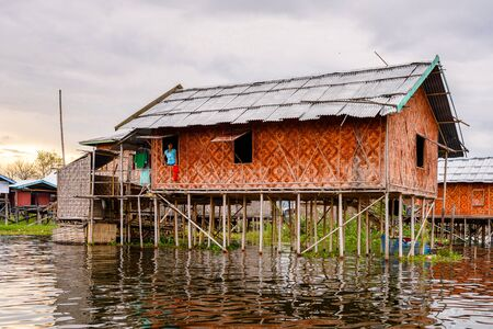 Inpawkhon village over the Inle Sap,a freshwater lake in the Nyaungshwe Township of Taunggyi District of Shan State, Myanmar Editorial