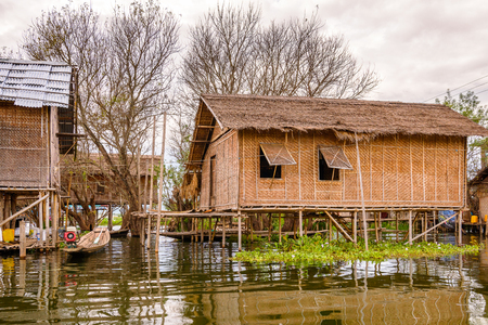 Inpawkhon village over the Inle Sap,a freshwater lake in the Nyaungshwe Township of Taunggyi District of Shan State, Myanmar Stock Photo