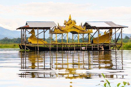 Authentic village over the Inle Sap,a freshwater lake in the Nyaungshwe Township of Taunggyi District of Shan State, Myanmar Stock Photo
