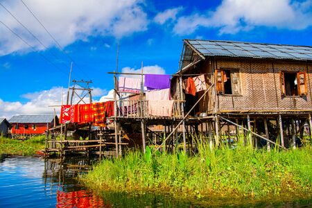 Beautiful view of the Inpawkhon village over the Inle Sap,a freshwater lake in the Nyaungshwe Township of Taunggyi District of Shan State, Myanmar