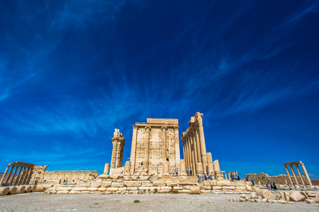 Temple of Bel , an ancient stone ruin located in Palmyra, Syria.