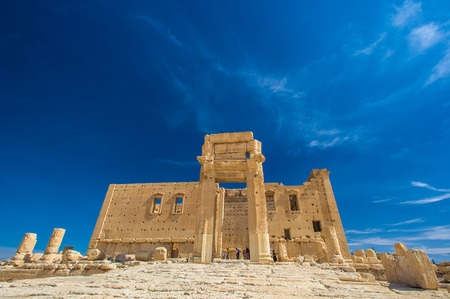 Temple of Bel , an ancient stone ruin located in Palmyra, Syria. Stock Photo