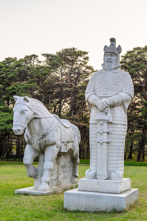 Scientifics and horses statues on the Road to the tombs of Ancient Koguryo Kingdom, Pyongyang, North Korea