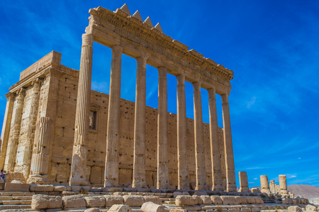 Columns in the inner court of the temple of Bel. Syria. UNESCO World Heritage Stock Photo
