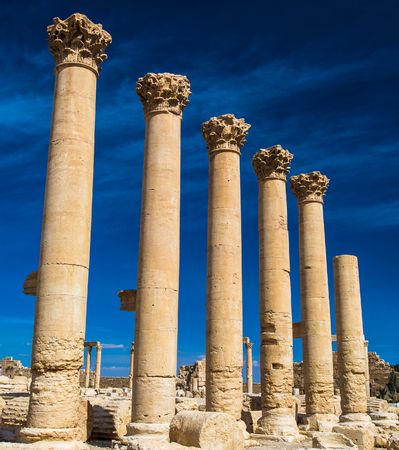 Great Colonnade at Palmyra was the main colonnaded avenue in the ancient city of Palmyra in the Syrian Desert. UNESCO World Heritage Site