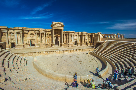Roman theater ruins in Palmyra, Syria