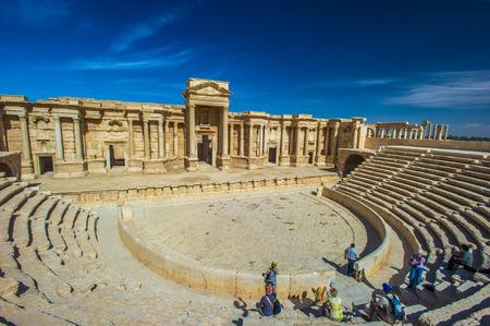Roman theaterruïnes in Palmyra, Syrië Stockfoto - 92289405