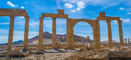 Palmyra landscape ruins. Archivio Fotografico