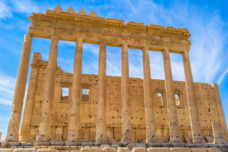 Columns in the inner court of the temple of Bel, Syria Stock Photo
