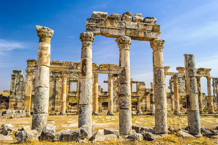 Ruins of the columns of Apamea, a treasure city and stud-depot of the Seleucid kings, and was the capital of Apamene. Stock Photo