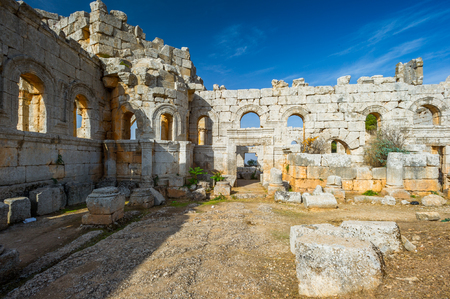 Ruins of the ancient castle in Syria Stock Photo