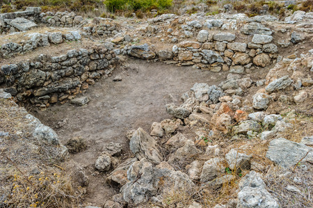 Excavated ruins of the Royal palace of Ugarit, Syria Stock fotó