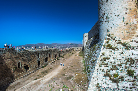 Part of the Krak des Chevaliers, a Crusader castle in Syria Stock Photo