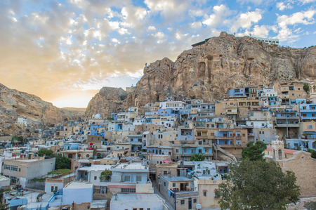 Maloula or Maaloula, a small Christian village in the Rif Dimashq Governorate in Syria. Stock Photo