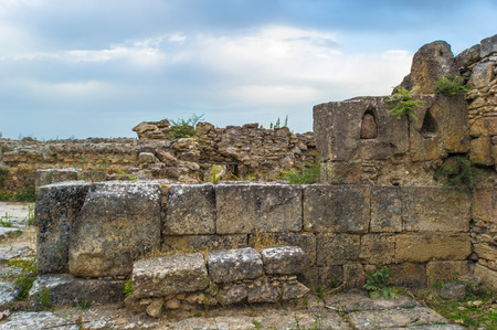 Excavated ruins at Ras Shamra. Ugarit, an ancient port city on the eastern Mediterranean at the Ras Shamra. Stock Photo