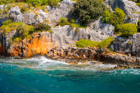 Remains of the ancient Lycian city on the Kekova island,  Turkey