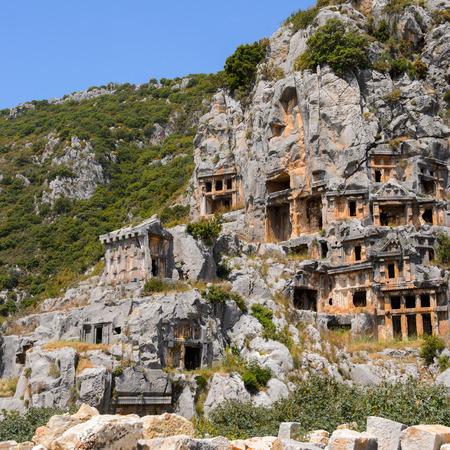 Ancient rock cut tombs of the Lycian necropolis, Myra, Turkey