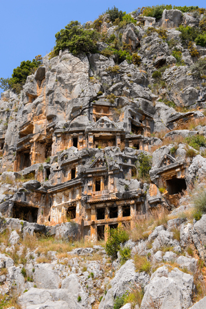 Ancient rock cut tombs of the Lycian necropolis, Myra, Turkey
