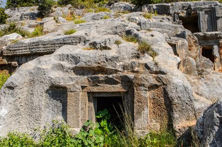 Tomb of the ancient cemetery, Limyra, Turkey.