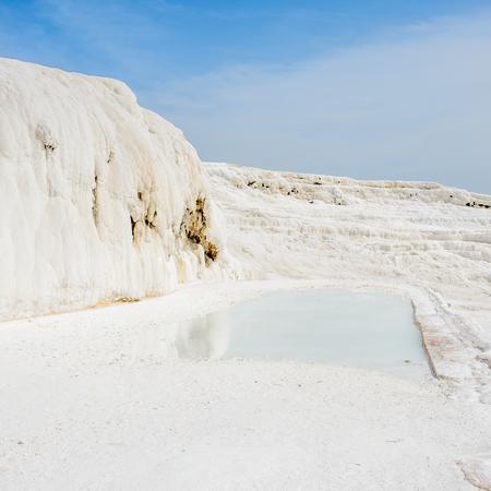 Natural travertine pool in Pamukkale ,Turkey. Stock Photo