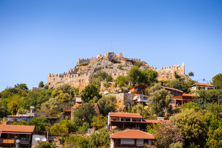 Kalekoy village (Simena)  with the Byzantine castle in the center, Turkey