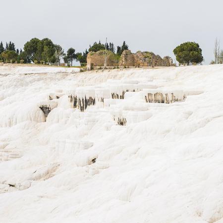 Natural travertine terraces at Pamukkale ,Turkey.
