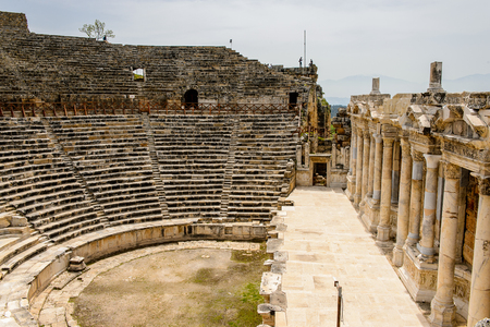 Amphitheater in ancient Hierapolis, Pamukkale, Turkey.