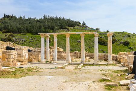 Ancient temple ruins in Hierapolis, Pamukkale, Turkey.