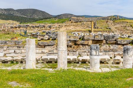 Ancient columns ruins in Hierapolis, Pamukkale, Turkey.