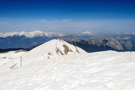Snow on the top of the Tahtali mountain in Turkey Stock Photo