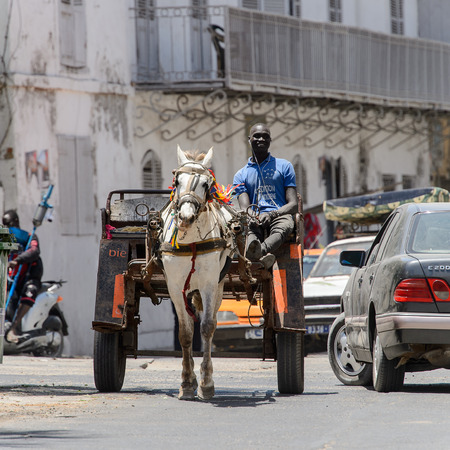 SAINT LOUIS, SENEGAL - APR 24, 2017: Unidentified Senegalese man rides on cart with horse in the centre of Saint Louis, one of the major cities in Senegal
