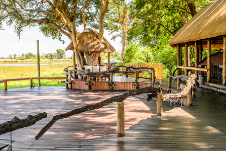 OKAVANGO DELTA, BOTSWANA - JAN 11, 2016: Decoration of the Mapula Lodge, a hotel at the Moremi Game Reserve. Place for the tourists who want to explore the Reserve
