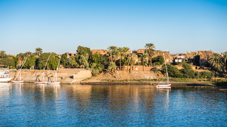 LUXOR, EGYPT - NOV 30, 2014: Coastline of the river NIle near Luxor. Nile is 6,853 km long. The Nile is an