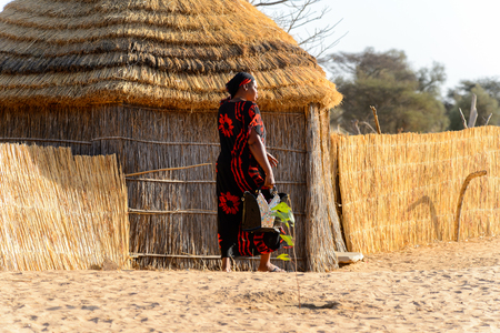 FERLO DESERT, SENEGAL - APR 25, 2017: Unidentified Fulani woman in colored clothes and headscarf walks along the village . Fulanis (Peul) are the largest tribe in West African savannahs