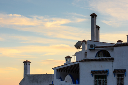 CHEFCHAOUEN, MOROCCO - SEP 10, 2015: Evening in Architecture of Chefchaouen, small town in northwest Morocco famous by its blue buildings Redactioneel